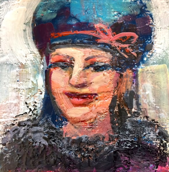 """Expressionist portrait of """"Woman in Beret"""" by Monique Sarkessian is made with encaustic wax and mixed media on an 8x8""""panel and framed with a white wood frame."""