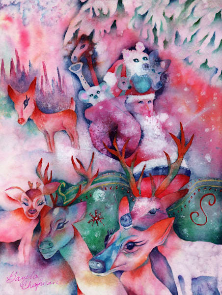A Night of Magic and Reindeer Art by Gayela's Premiere Watercolors|Main Store