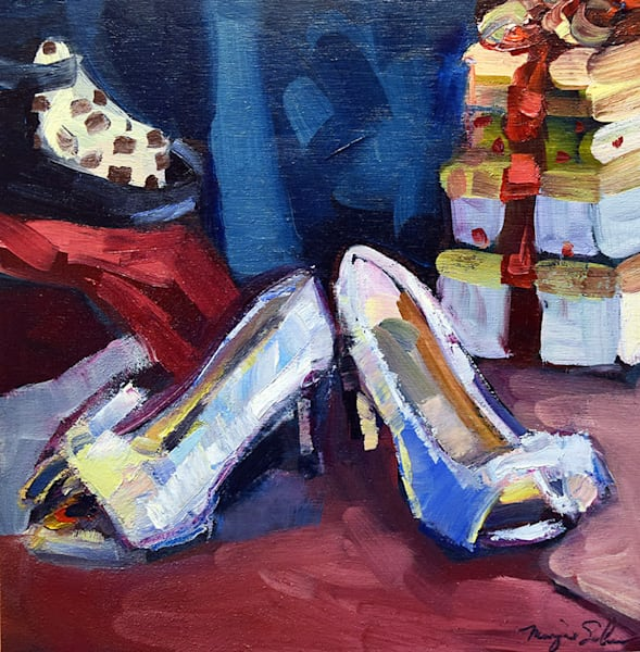 "Beautiful gift for art lovers ""Silver Holiday Heels and Gifts Marmi Gifts 1"" alla prima oil painting by Monique Sarkessian."