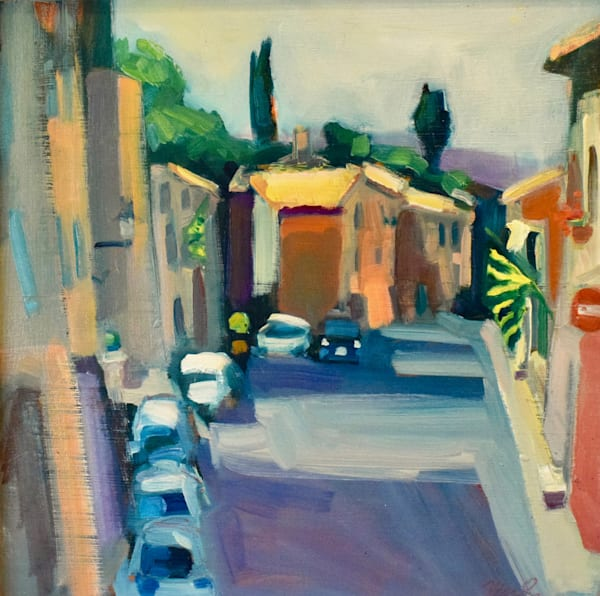 "Original plein air oil painting made on location in Italy, Tuscany of the Montipulciano car lined streets. This painting is 12""x12"" on archival foam board and framed with a white wood floater frame."