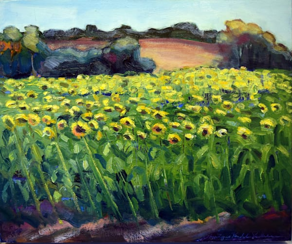 "Original plein air oil painting of a huge sunflower field, ""Sunflower Sea"" painted on wood by expressionist painter Monique Sarkessian."
