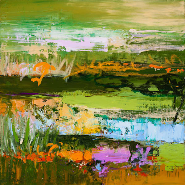 Bright Green And Magenta Abstract Landscape Canvas