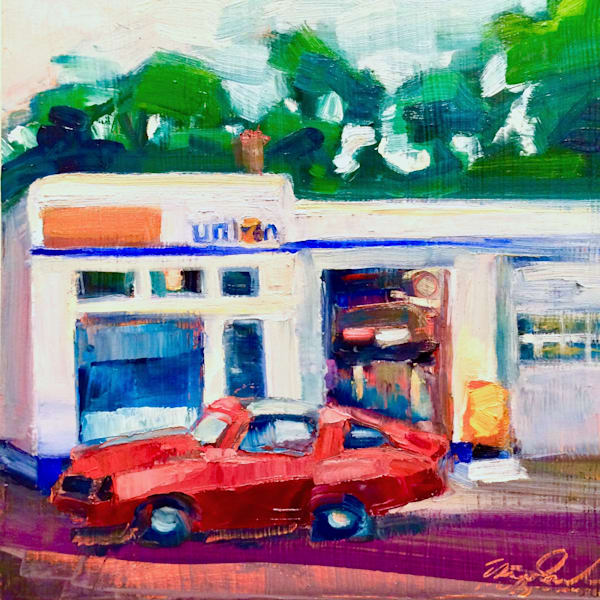 """""""Joyride Ed's Union 76"""" gas station with a gorgeous lush red Camaro hotrod vintage car plein air oil painting by Monique Sarkessian. Oil  painting on wood Cradle board  measures 8""""x 8 X1.5"""" Framed with a10""""x10"""" white wood floater frame."""