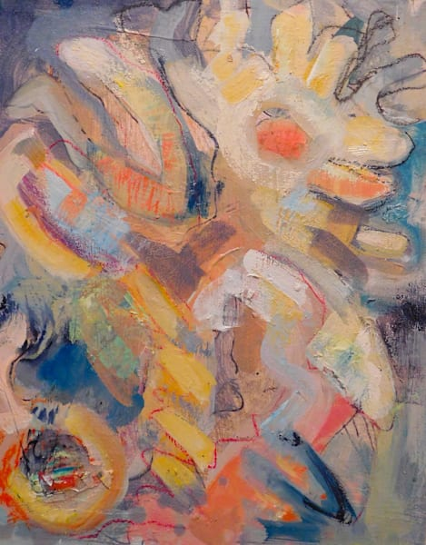 """Original abstract oil painitng, """"Antithesis of Myth 14"""" series by Monique Sarkessian. Influenced by Arshile Gorky and Vassily Kandinsky's works."""