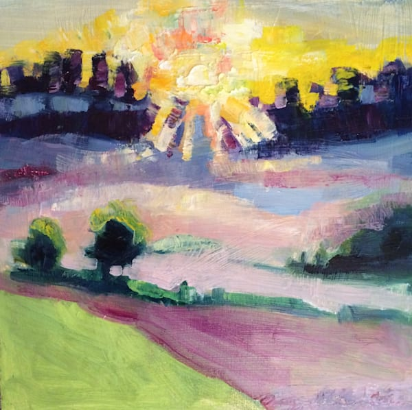 "Original plein air oil painting, ""Where Your Glory Dwells 49-  Morning Glory""  glorious sunrise by Monique Sarkessian is made with oil paint and mixed media on wood 12x12x1.5""."