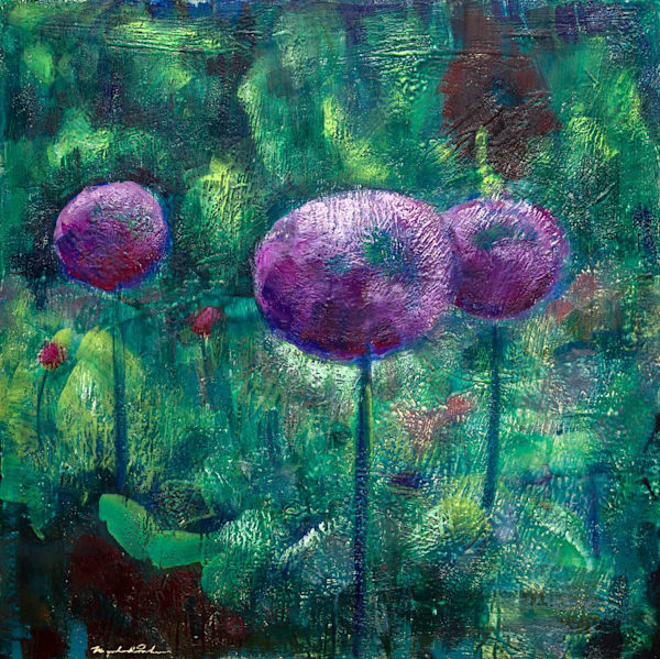 "Original encaustic wax landscape painting of ""Chanticleer Garden Allium 3"" on wood 30x30x2.5"" by Monique Sarkessian."