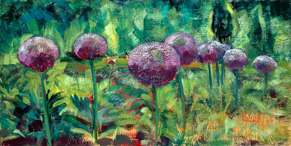 "Original encaustic wax landscape painting ""Chanticleer Aliium Garden 2"" by Monique Sarkessian. Purple flowers floral allium encaustic wax and mixed media painting on wood, 24""x48""."