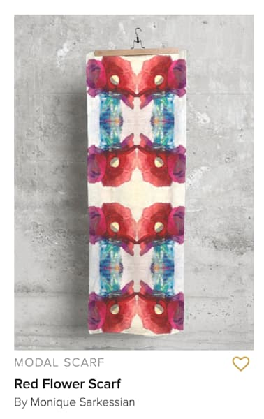 "Modal scarf- Handprinted modal scarf with Mirrored Magenta and Ranunculus Image 27""x78"" ​"