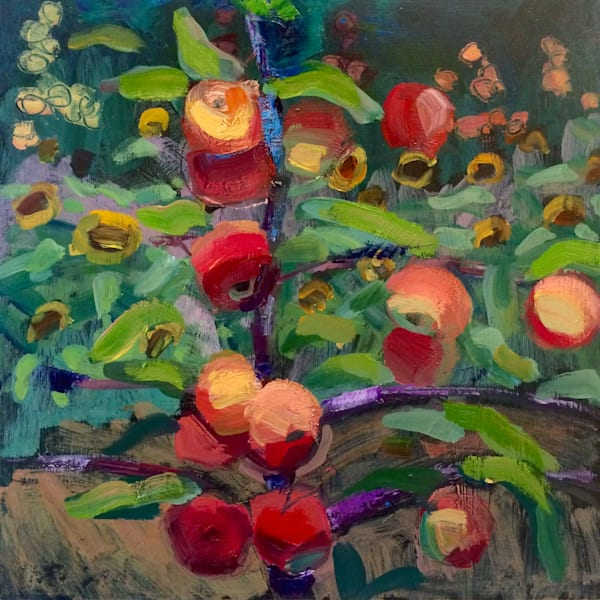 "Original plein air oil painting, ""Frecon Orchard 2"", by Monique Sarkessian of the apple orchard with sunflowers growing nearby, 10""x10""x2"""