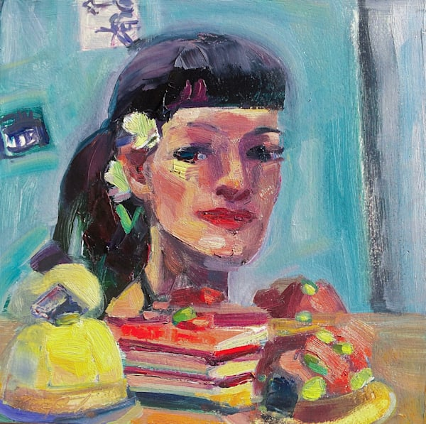 "Original oil painting , ""Portrait of Monique With French Dessert Trio"", by Monique Sarkessian, made with oil paint and mixed media on 10x10"" wood cradleboard mounted on a 12x12"" white painted wood panel to set off the color."