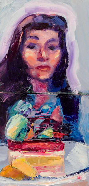 "Original alla prima oil painting by Monique Sarkessian, ""Portrait of Monique With Le Framboisier and petit macaron"" oil and mixed media on wood, 8""x4""x0.75""."