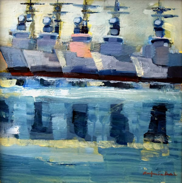 "Original plein air Oil painting on wood, ""Joyride 24-Navy Shipyard"", oil and mixed media on wood, 12""x12""."