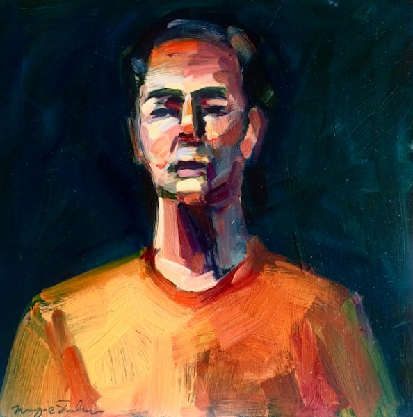 """Original alla prima oil painting, """"Portrait of Christian I"""" oil and mixed media on wood, 12""""x12""""."""