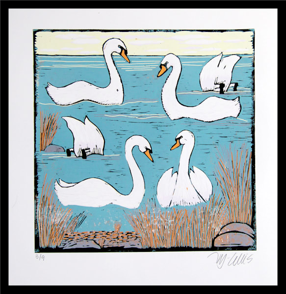 Swans in a linocut morning seascape by Printmaker Mariann Johansen-Ellis, art, paintings