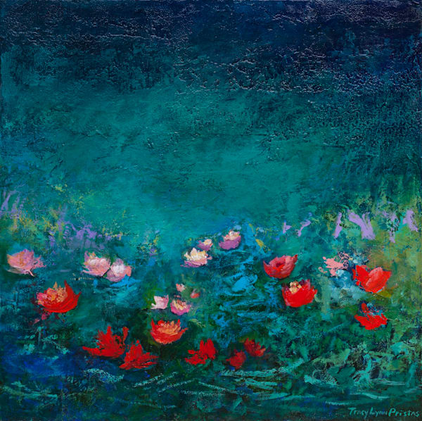 Vibrant Blue Floating Flowers Painting