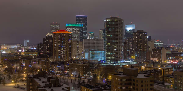 Christmas Minneapolis Skyline - City Art | William Drew