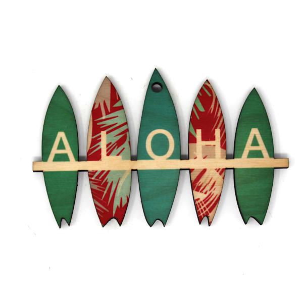 Aloha Surfboards Xmas Color Ornament