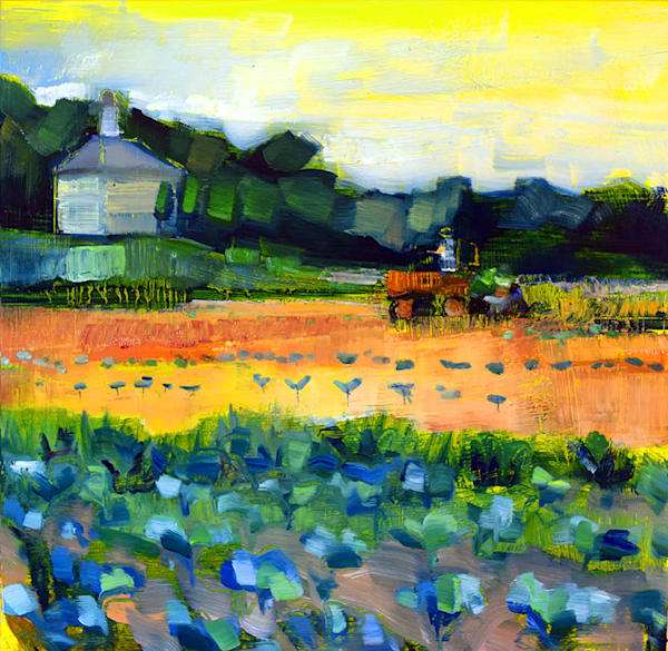"Original plein air oil painting ""Joyride 24-Broccoli Planting at NoneSuch Farm"", by Monique Sarkessian, 12x12"" oil on wood, framed."