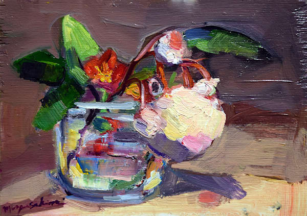 """""""Roses and Quince Blooms"""" still life oil painting by Monique Sarkessian measures 5"""" x7"""" framed with a grey wood deep edge frame."""
