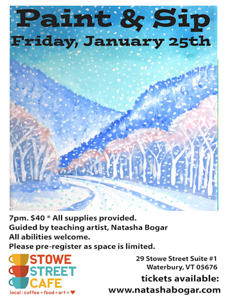 Stowe Street Cafe Paint Night Classes on Sale Now.