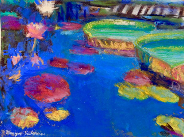 """Longwood Waterlilies 11"" by Monique Sarkessian. Pastel painting on Wallis sanded paper 11""x14""matted with a white mat and framed in a 20x 16"" white wood frame."