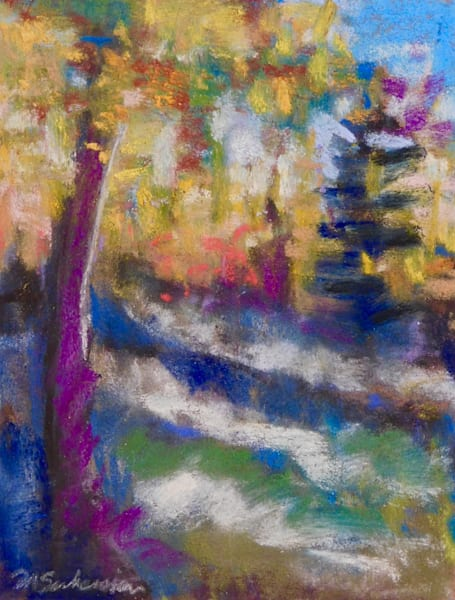 """""""Where Your Glory Dwells 137  Golden Aspens Early Light"""" by Monique Sarkessian. Pastel painting on Wallis sanded paper 7""""x 4""""."""