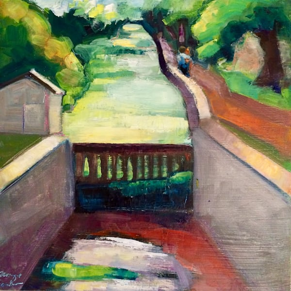"Fantastic ""Canal Kiss-New Hope Canal State Park"" plein air oil painting.Loads of character! Original art by Monique Sarkessian. Oil painting on panel measures 12"" x 12"" , Framed oil painting with white wash floater frame"