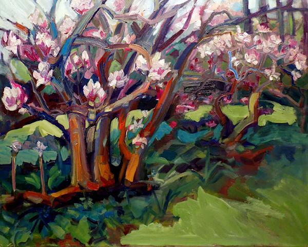 "Where Your Glory Dwells 15  Magnolia Bend Winterthur"". Gorgeous lush painting of the pink magnolia trees at Winterthur Museum and Garden by Monique Sarkessian. Oil painting on canvas measures 24"" x 30"" , framed with a wood frame and ready to hang"