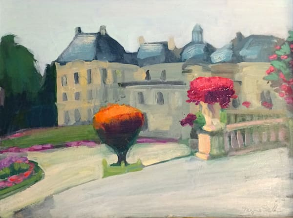 "Plein air oil painting,""Paris-Jardin du Luxembourg"" by Monique Sarkessian. Gorgeous art luxuries. Painting made with oil paint plus pigment on wood. Framed with a white floater frame 12"" x 16"" w plus 1"" all round for frame depth."