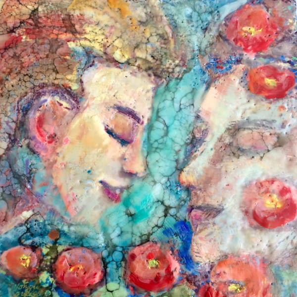 """Radiant Woman -Poppy Lovers "" by Monique Sarkessian is made with encaustic wax and oil paint on wood, 12x12x1.5"" wood cradleboard , unframed with painted sides."