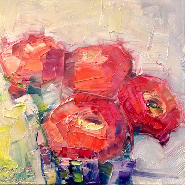 "Beautiful ""Still Life With Pink Ranunculus 2""  by Monique Sarkessian oil painting on on 6x6x 3/4"" deep wood cradleboard mounted on a 10x10"" white backing panel as a frame."