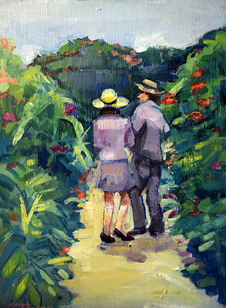 "Plein air painting from Claude Monet's wonderful garden ""Giverny Couple"" Painting made with oil paint  on wood. Framed with a white floater frame 12""x9""w plus 1"" all round for frame depth."