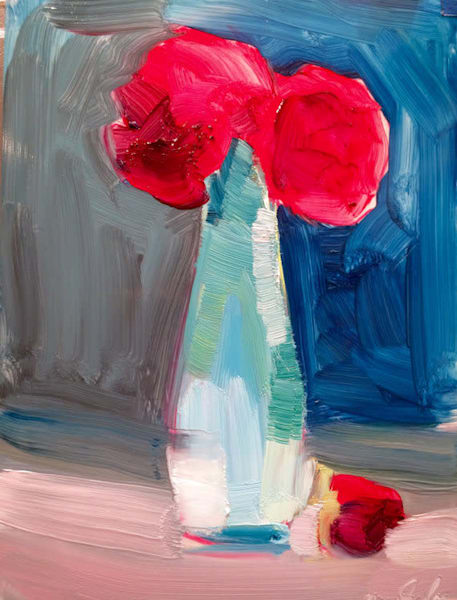 "Striking ""Together Still Life With Peonies and San Pellegrino by Monique Sarkessian. Oil painting is on translucent yupo paper mounted on wood measures 7"" x5"". Framed with a white wood frame."