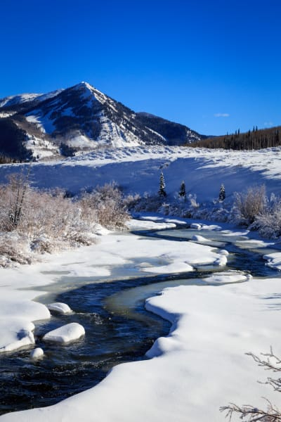 Winter scene at the Weber River Utah USA.