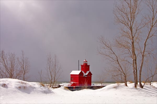 "Holland's ""Big Red"" lighthouse in Winter"