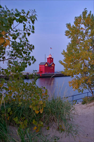 "Holland's ""Big Red"" lighthouse at dawn"