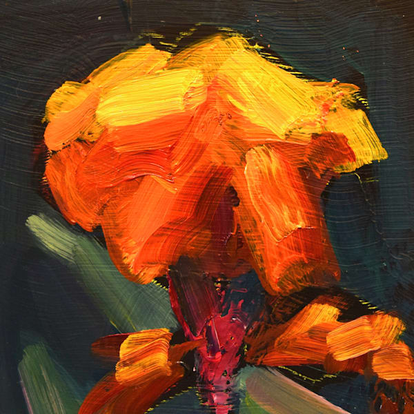 "Beautiful ""Chanticleer Orange Canna flower in Wayne, PA  painting is done with oil paint on 4""x4"" panel mounted on a white wood 6""x6""x1"" panel and ready for your walls."