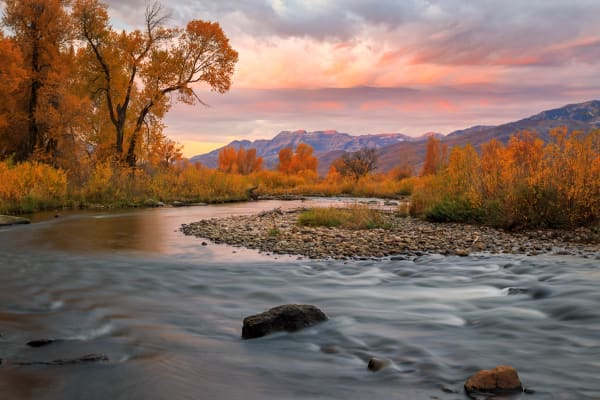 October sunrise at the provo river