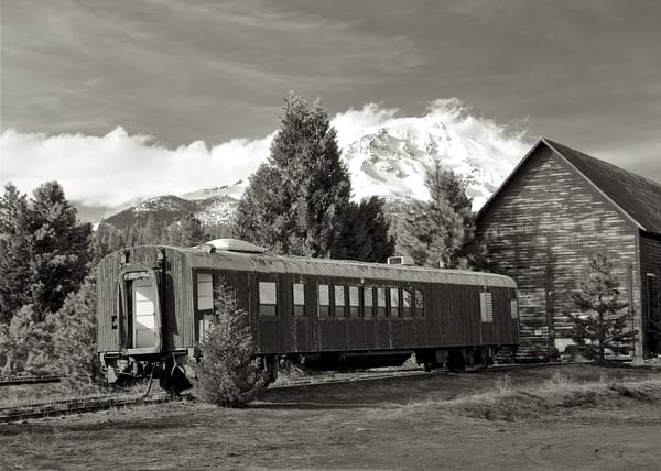 Mount Shasta rail car in black and white.