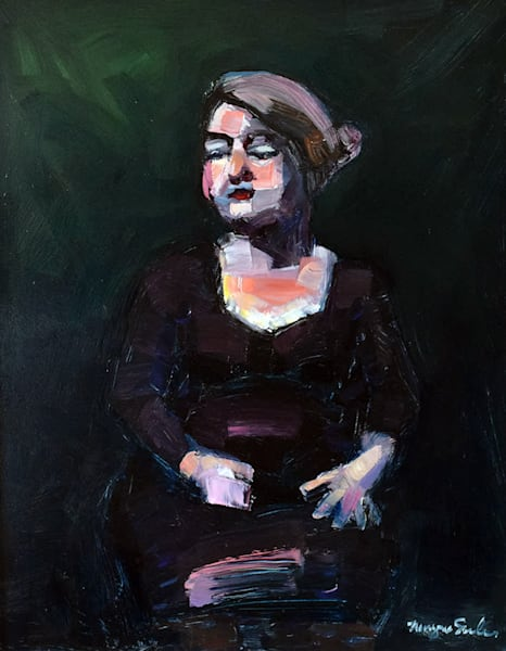 "Oil ""Portrait Of Kathy"" Woman With Silver Hair Dark Eyes Female Original Oil Painting Impressionist  Expressionist Art 