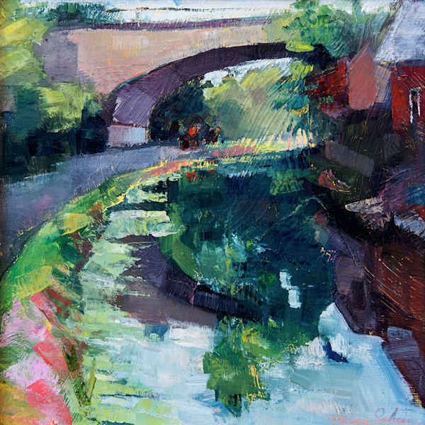 "Original plein air oil painting, ""Joyride 22-Montcalre  Towpath"", Oil and Mixed media on wood, 12x12"" framed."