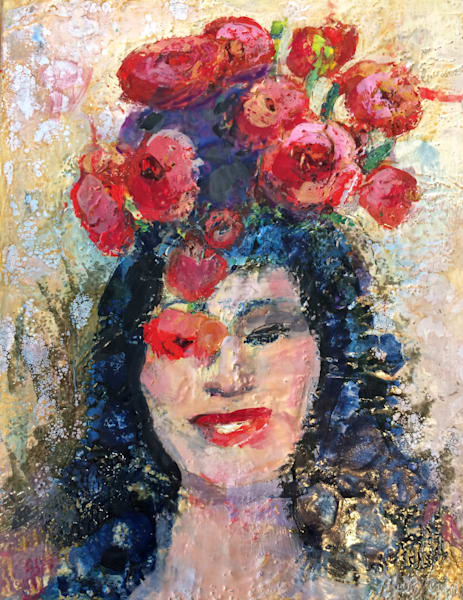 Red Ranunculus Vintage Poppy Woman Encaustic Wax Expressionist Painting