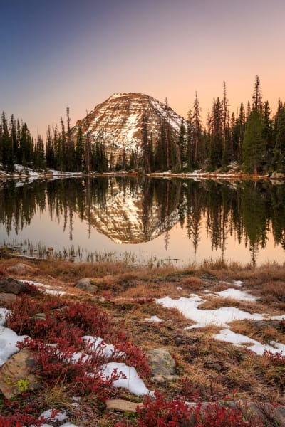 dawn reflection in the uinta mountains