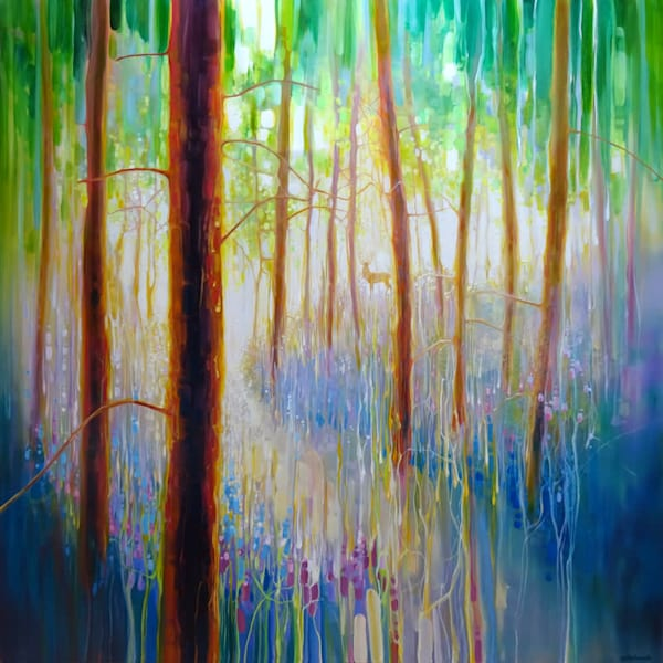 a bluebell symphony very large original oil painting on canvas of bluebells and a stag in a spring woodland