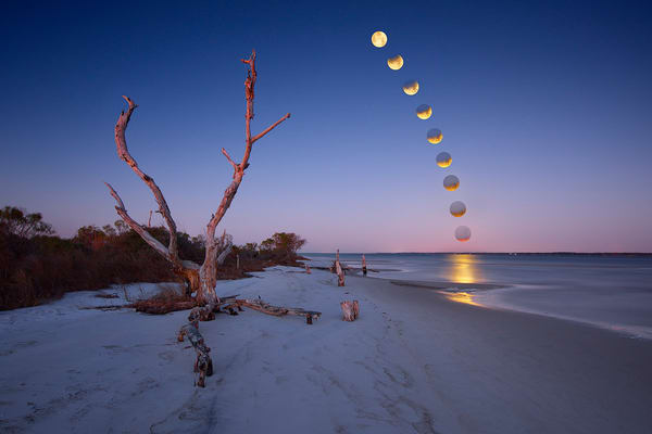 Lunar Eclipse - Navarre Beach Florida - Fine Art Prints on Canvas, Paper, Metal, & More | Waldorff Photography