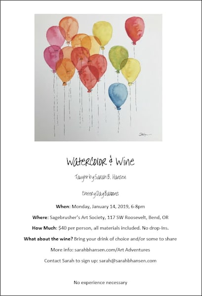 Watercolor & Wine Paint Night with Sarah B Hansen - January