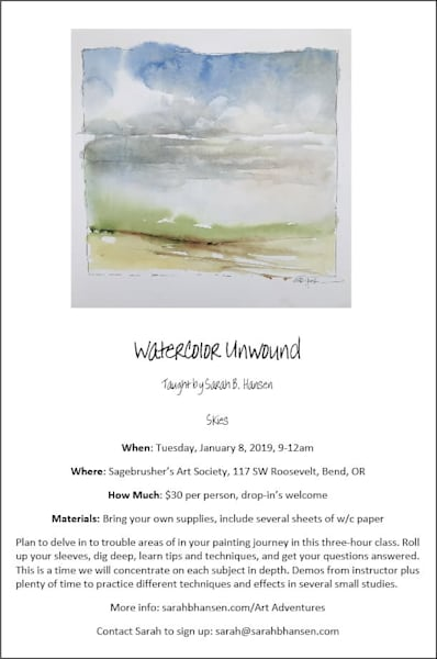 Watercolor Unwound January - Class taught by Sarah B Hansen - Skies
