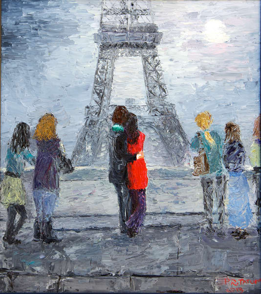 paris, eiffel-tower, lovers, moonlit-night, fine-art-print