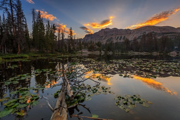 butterfly lake sunrise reflection in the uinta mountains utah