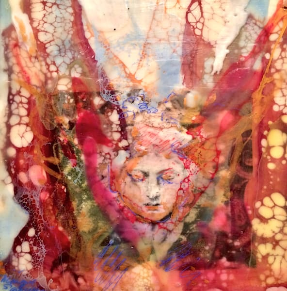 "Stunning ""Love Conquers 2"" by Monique Sarkessian, encaustic wax and mixed media on wood panel, framed with a white floater frame. Ready for your walls!"
